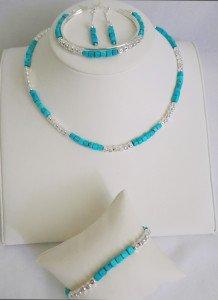 Bijoux turquoises ensemble retouche